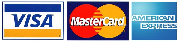 We accept VISA AMEX and MASTERCARD Credit & Debit Cards.